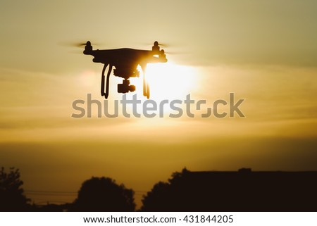 Silhouette Drone Quadcopter Sunset Stock Photo (Edit Now