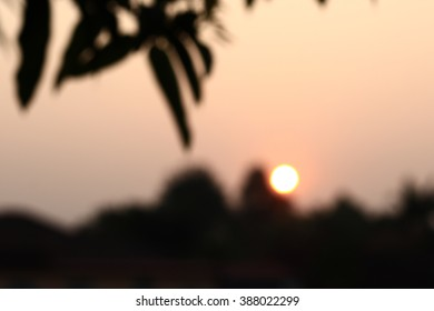 Silhouette edge bokeh The sun in the morning.in-Thailand