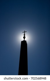 Silhouette of Egyptian Obelisk in Saint Peter's Square Rome Italy