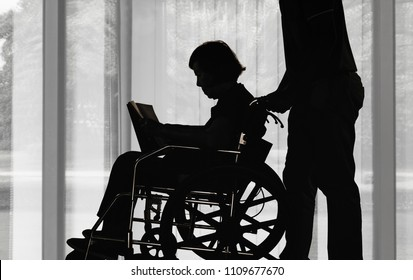 Silhouette elderly woman reading a book on wheelchair with her son take care.