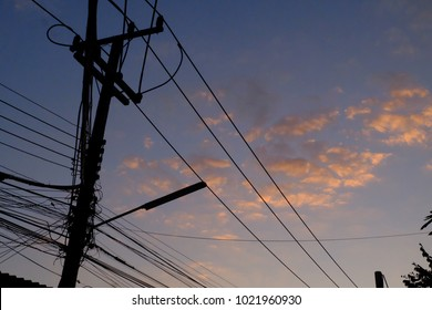 silhouette of electric pole in asia, Thailand village