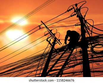 Silhouette electrician on wooden staircase is working to install wiring on electric poles with blurred sunrise sky background in technology and occupation concept