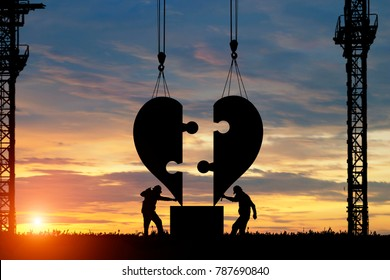 silhouette of Engineer heart shape builder in construction. Valentines Day