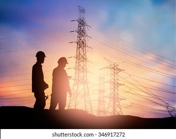 silhouette engineer working  in a building site over Blurred construction worker on construction site
