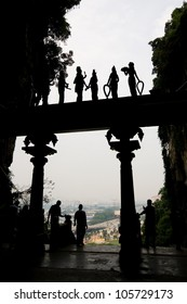 Silhouette of an entrance gate to the Batu Caves in Kuala Lumpur