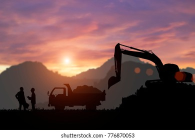 Silhouette of Excavator and truck working and engineers in the construction area.
