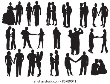 Silhouette of Falling in love.  Man and woman in love: hug, kissed, go for a walk, dance