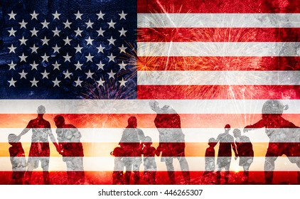 Silhouette of family happy on the Independence Day (United States) or ID4