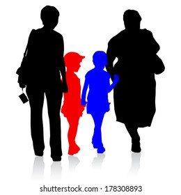 Silhouette of family, mother and children and grandmother on white background.  illustration.