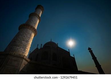 Silhouette of famous Taj Mahal shot in backlight