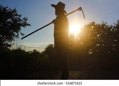 Silhouette of a farmer with golden light of sunset in the evening.