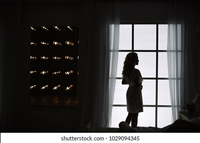 Silhouette of a fashion woman by the window. Wonderful portrait of a girl in a beautiful silk dressing gown.