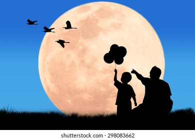 silhouette father hand point his son looking egret bird at the full moon night background