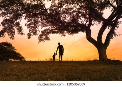 Silhouette of father and son holding hands walking in the park.