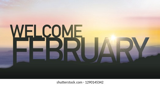 Silhouette February with sunrise. Wish you have a wonderful month.