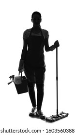 Silhouette of female cleaner with supplies on white background