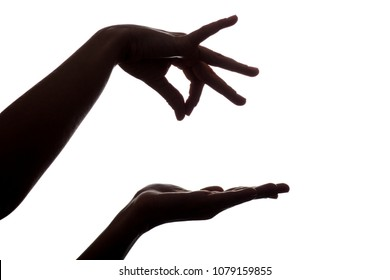 silhouette of female hands holding something over hand like a puppet on an isolated white background
