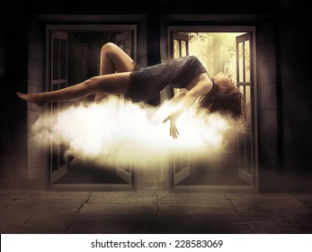 Silhouette female person levitating lady floating girl flying in apartment room. Astral travel, meditation mystical rapture state psychokinesis condition. Decision making. Magic energy show. Illusion