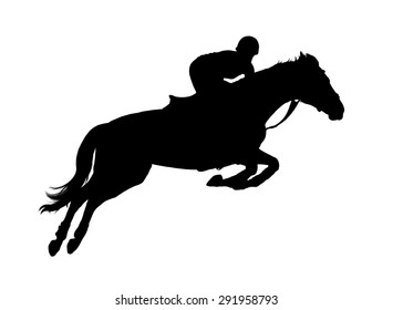 Silhouette of female rider on white background
