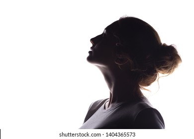 silhouette of figure of beautiful girl, woman profile on white isolated background, concept of beauty and fashion