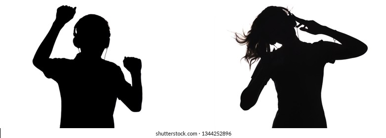 silhouette of figures of teenagers in headphones listening to music, the guy and the girl are dancing with hands up, the concept of a party and youth lifestyle on a white isolated background