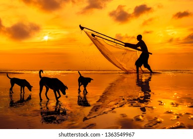 Silhouette of fisherman & adorable 3 doggies with vibrant orange sky background