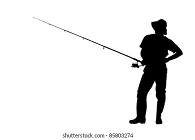 A silhouette of a fisherman holding a fishing pole isolated against white background