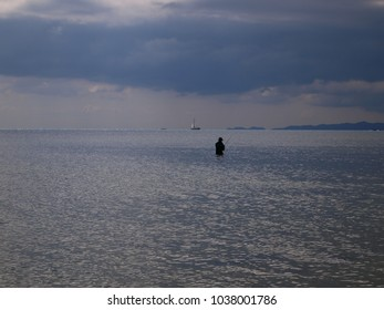 silhouette of a fisherman on a background of a silver-blue sea and sky