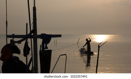 Silhouette of Fishing port