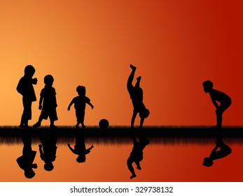 silhouette of five little boys playing in the grass field on colorful sunset sky background
