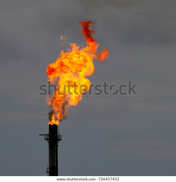 Silhouette Flare Stack Oil Gas Refinery Stock Photo (Edit