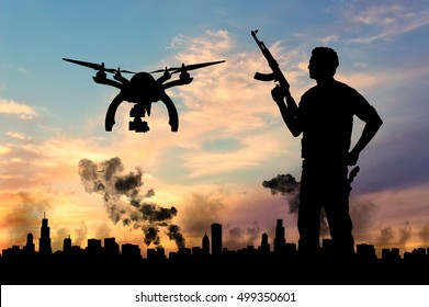 Silhouette flying reconnaissance drone over city in a smoke and a terrorist. Concept of military intelligence and terrorist information