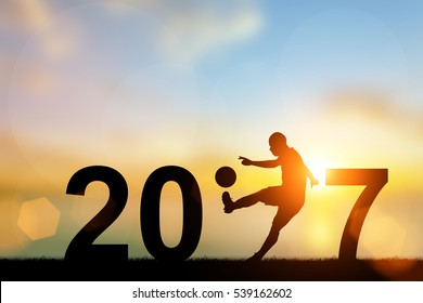 Silhouette Football Player in  2017 text for Happy New Year Background