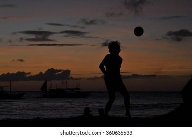 Silhouette of Footballer