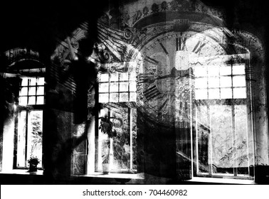 Silhouette of a girl in an abandoned house in the background of the old clock (double exposure, black-and-white photo)