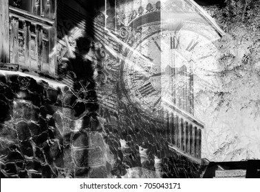 Silhouette of a girl in the alley on the background of the old clock (double exposure, black-and-white photo)