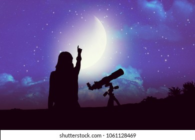 Silhouette of a girl beside astronomy telescope with Moon and Milky Way stars. Elements of this image are my astronomy work.
