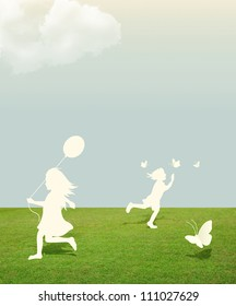 silhouette of girl and boy playing with butterfly and Balloon  under sky .paper cut style
