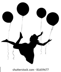 Silhouette of girl child in dress floating away on baloons with clipping path.