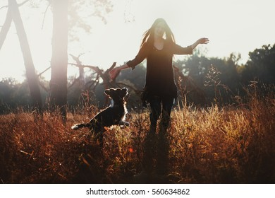 Silhouette of a girl and her dog in backlight. A woman in a dress and long hair jumps on the field with the dog breed border collie.