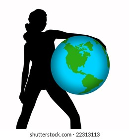 silhouette of the girl  hold a globe