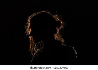 silhouette: the girl in profile
