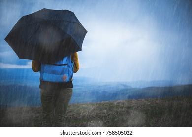 Silhouette of a girl in rain with umbrella.