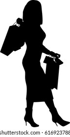 Silhouette of a girl   shopping Raster version