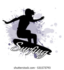 silhouette of the girl of the surfer against the background of splashes in style grunge