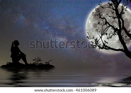 Silhouette Girl Waiting Someone Under Moon Stock Photo Edit Now
