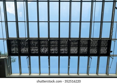 Silhouette of Glass Roof with patterns of rectangles and shadows