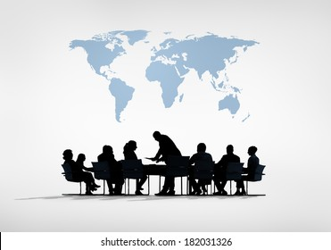 Silhouette of Global Business Meeting