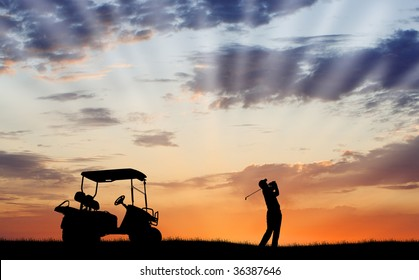 Silhouette of golfer and golf cart