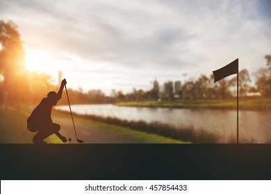silhouette of golfers hit sweeping and keep golf course in the summer for relax time